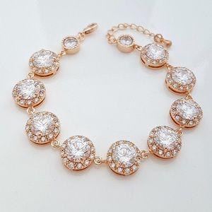 Rose gold wedding earrings and bracelet set